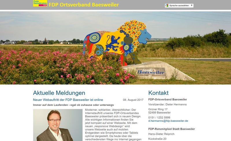 Neuer Webauftritt der FDP Baesweiler ist online
