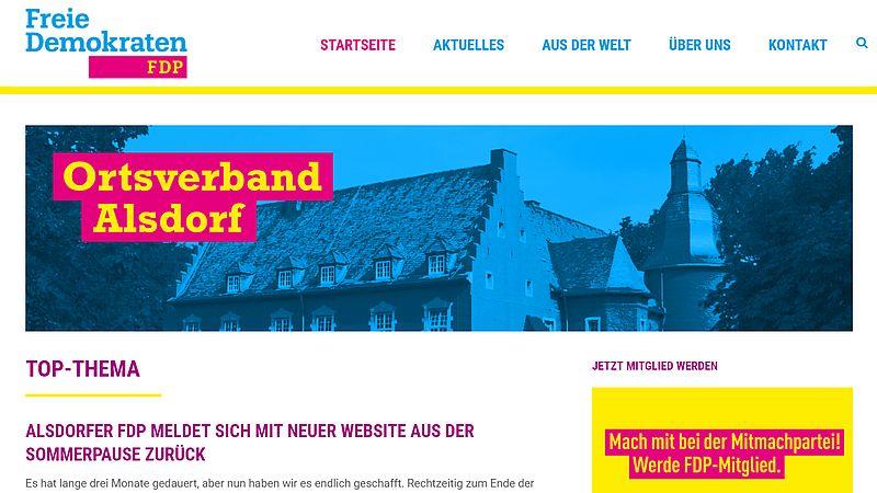 Moderner Online-Auftritt der FDP Alsdorf
