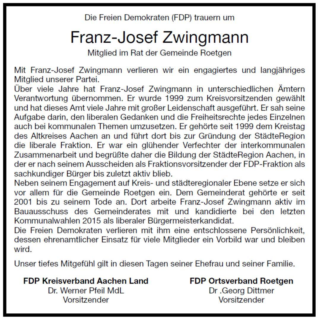 Die Freien Demokraten trauern um Franz-Josef Zwingmann