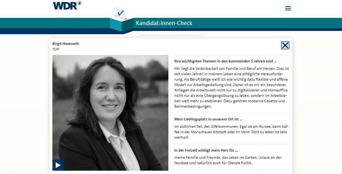 Birgit Haveneth im WDR-Kandidat:innen-Check