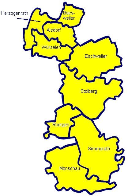 Karte des ehemaligen Kreises Aachen (1972 - 2009)