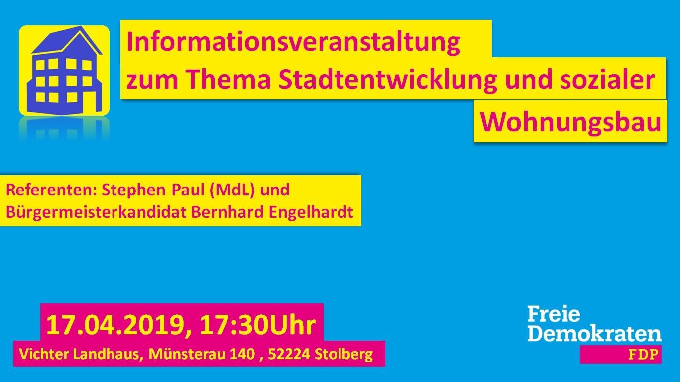 FDP Stolberg lädt ein: Stadtentwicklung und sozialer Wohnungsbau