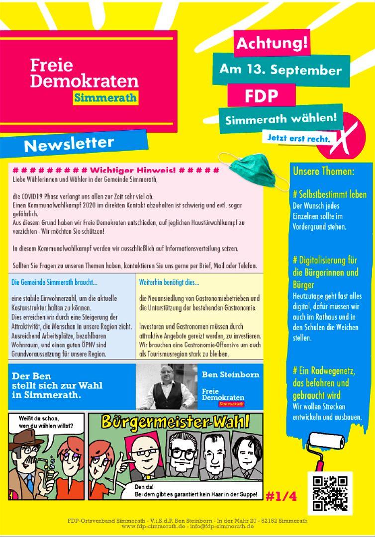 Newsletter der FDP Simmerath zur Kommunalwahl