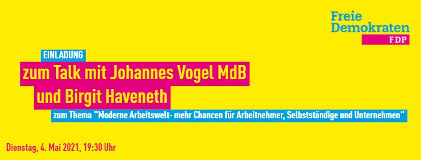 Einladung zum Talk mit Johannes Vogel MdB
